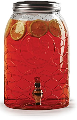 Circleware 69142 Rooster Glass Beverage Dispenser with Metal Fence Stand and Lid Sun Tea Jar with Spigot Entertainment Kitchen Glassware Drink Water Pitcher for Kombucha Juice, 1.5 Gal by Circleware (Image #3)