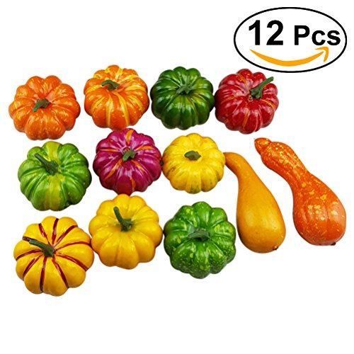 WINOMO Artificial Pumpkins and Gourds 12pcs Foamed plastics Assorted Table Centerpiece for Autumn Fall Halloween Thanksgiving Day Display by WINOMO
