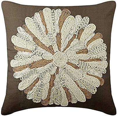marrón fundas para cojines, yute bordado granos de la perla fundas ...