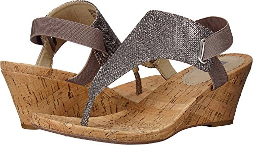 White Mountain Women's, All Good Wedge Sandals Gunmetal 7.5 M Thong Platform Shoes