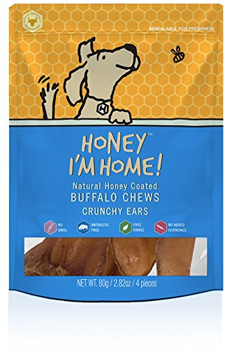 Honey I'm Home All Natural, Honey Coated Buffalo Crunchy Ears for Dogs