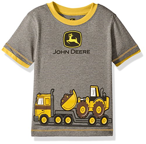 John Deere Baby Toddler Boys' Graphic Tee, Grey/Construction Yellow, 2T