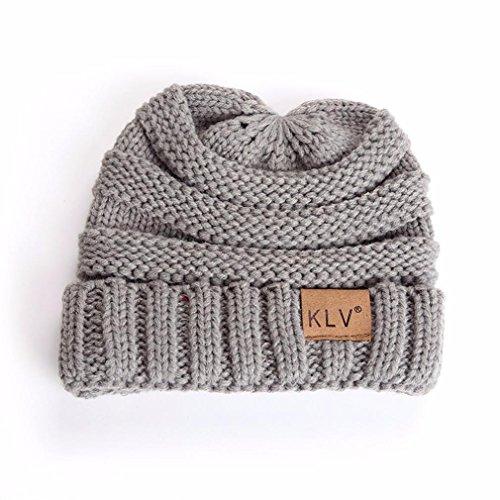 Crochet Free Hat (Lavany Boys Girls Winter Knit Wool Hat Warm Crochet Ski Beanie Skull Slouchy Caps (Gray))