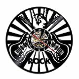 Shinestore Rock Music Play The Guitar Vinyl Record Wall Clock Roll N Roll Music Creative Decor Decorative Clock Gift for Music Lover For Sale