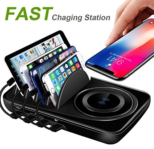 USB Charging Station Dock Quick Charge 3.0 Type-C for Multiple Devices iPad Desktop Charging Stand Organizer Multi Smart Hub Fast Wireless Charger for Android and iOS Phones Black by SoundHD