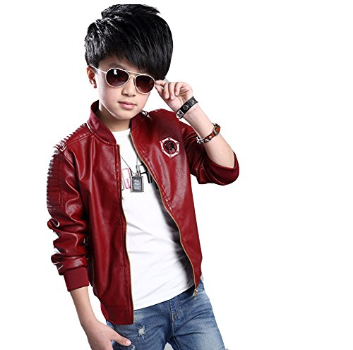 Little Stand collar Motorcycle Leather Jacket product image