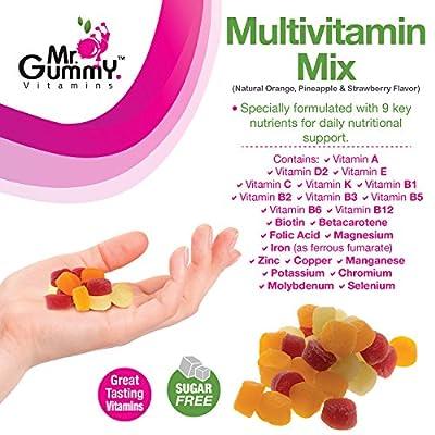 Mr Gummy Vitamins Multivitamin Mix Sugar Free Premium Supplement | Rich in Nutrients & Minerals -Vitamins A, D2, E, C, K, B Complex & More | [ 200 Gummies, 100-Day Supply] | for Men and Women