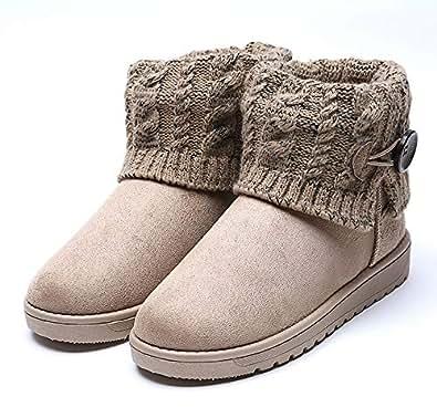 Amazon.com | King Ma Women's Knitting Wool Flat Ankle