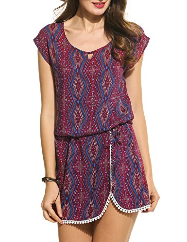 Meaneor Women Bohemian Vintage Printed Ethnic Style Summer Mini Dress Printing S