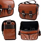Brown PU Vintage Brown Leather Satchel Carry Bag for I-Venstar Surround Sound Stereo BoomBox Duo Buddy Speaker - by DURAGADGET