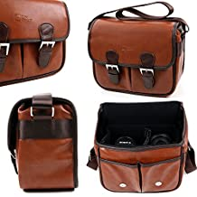 Brown PU Leather Satchel Carry Bag for Sony Bluetooth Speakers: SRS-BTS50, SRSX11, SRS-X11, SRS-X2 NFC, SRS-X3, SRS-X33, SRS-XB-10, SRS-XB2, SRS-XB-20, SRS-XB2B & SRS-ZR5 - by DURAGADGET