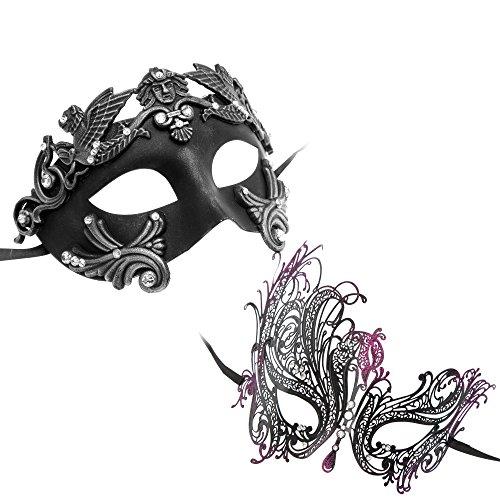 [Roman Greek Emperor Masquerade Venetian Mask Black Silver Series Couple Mask Sets (Bk6)] (Couple Masquerade Masks)