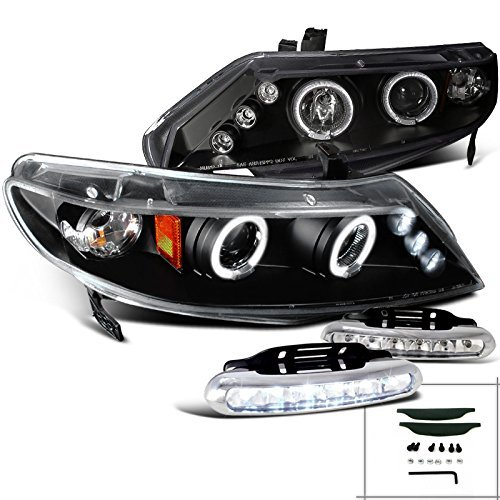 4dr Halo Led - Honda Civic 4dr Halo Rim Projector Headlights+Driving LED Fog Lamps Black