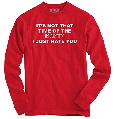 Girls T-shirt Pms (Classic Teaze Time Month Hate You Funny Shirt | PMS Period Girl Sarcastic Long Sleeve Tee)