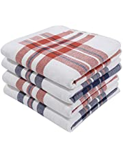 Homaxy 100% Cotton Kitchen Dish Towels, Ultra Absorbent Stripe Plaid Terry Dish Cloths