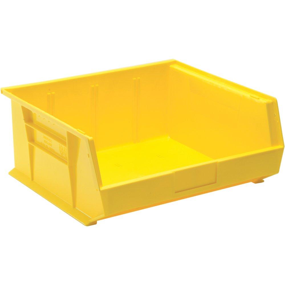 Edsal PB8505Y High Density Stackable Plastic Bin, 16'' Width x 7'' Height x 14'' Depth, Yellow (Pack of 6)