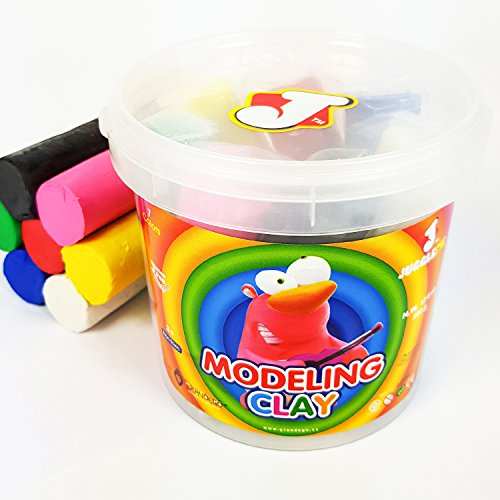 Modeling Clay Sticks - JUGGLEPIE Colorful Modeling Clay Set for Kids|Bulk Pack of 1.1 lb - Art Toys for Creative Children – 7 Round Sticks of Clay with Bucket and Lid - Soft Easy to Mold, Non-Hardening, Non-Toxic