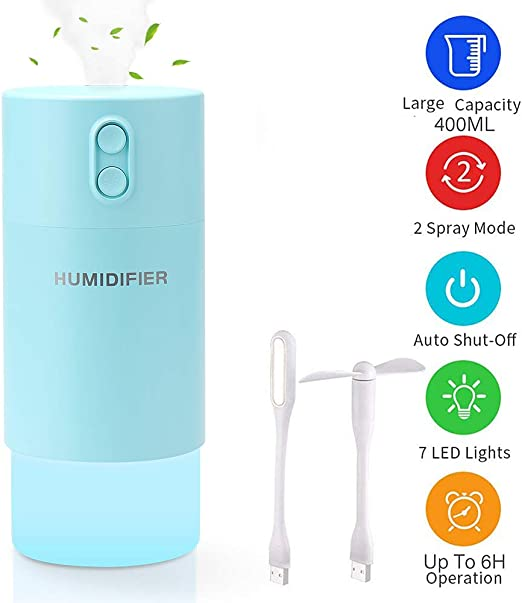 USB Portable LED Humidifier Air Purifier Cool Mist Diffuser for Car Office Home