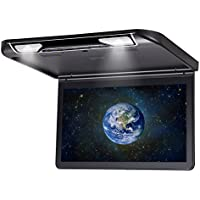 DDAUTO DD1336M Car Roof Mounted Monitor 1080P HD Ultra Thin 13.3 Inch IPS full-view Screen Flip Down Multimedia Player with Built-in USB SD HDMI Double Dome LED Lights for vans, trucks, SUVs, Black