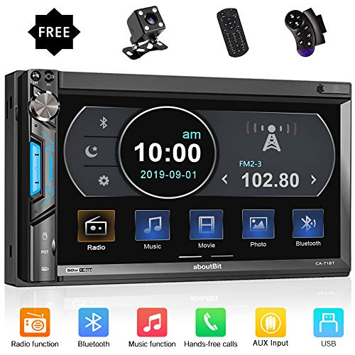 aboutBit Bluetooth Double Din Car Stereo-7 inch HD Touchscreen MP5 Player Car Audio Receiver–Supports Phonelink, Rearview Camera, AM/FM Radio, USB/SD/AUX, Subwoofer, SWC, Wireless Remote Control