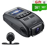 ARECORD B40D Dash Camera for Car Video Recorder with Night Vision 1080P WDR G-Sensor Loop Recording Motion Detect - Auto Dashboard Camera Capacitor Edition (16G Card Included)