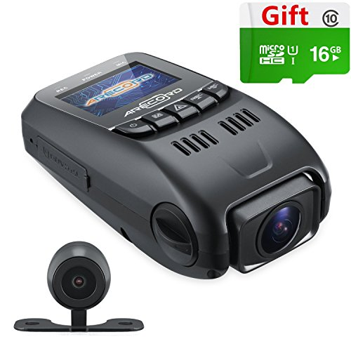 ARECORD B40D Car Video Camera Recorder w/ 1080P WDR G-Sensor Loop Recording 170 Degree Wide Angle - Dual Channel HD Dash Cam w/Rear View Camera & 16G Card [Capacitor Edition Upgraded from A118]
