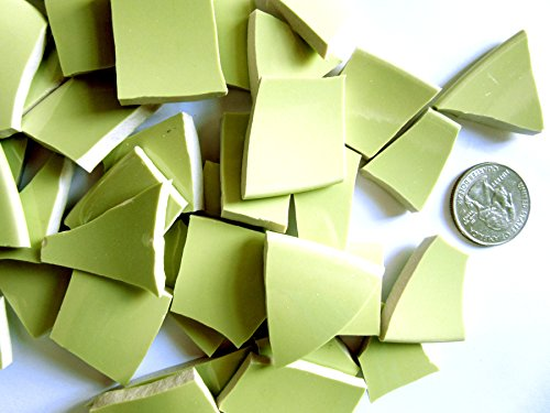 50 Light Green Mosaic Tiles, Broken China Mosaic Pieces, Ceramic Mosaic Tiles, Mosaic Art Supplies, Tile Mosaic Supply, Mosaic Craft Tiles, Broken Dish Pieces (Ceramic Art Pieces)