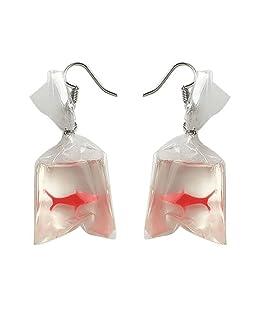 Afco Love1y Diary Funny Goldfish Water Bag Dangle Hook Earrings Girl Charm Christmas Gift#1
