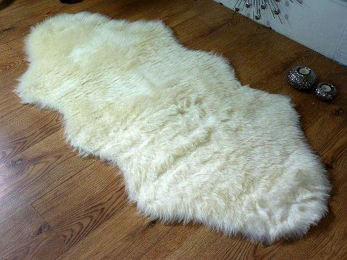Cream ivory faux fur double sheepskin style rug 70 x 140 cm