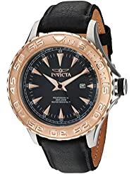 Invicta Mens Pro Diver Quartz Stainless Steel and Leather Casual Watch, Color:Black (Model: 12617)