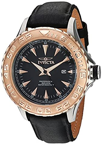 Invicta Men's 'Pro Diver' Quartz Stainless Steel and Leather Casual Watch, Color:Black (Model: (Invicta Watch Black Leather)