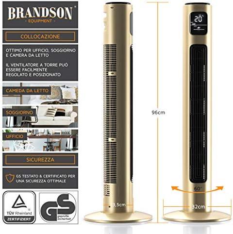 Oscillazione 60/°- Display LED Timer Ventilatore a Torre Silenzioso con Telecomando Brandson Alto 96cm Nuovo 2020 3 velocit/à 45 W Grigio Ghiaccio 3 modalit/à Operative