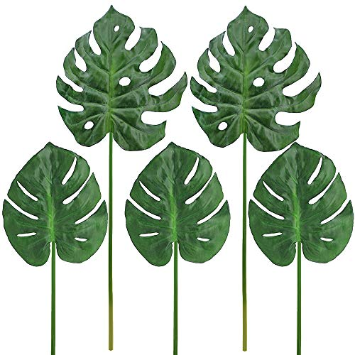 Supla 5 Pcs Aritificial Tropical Palm Leaf Split Philodendron Fake Palm Leaves Artificial Swiss Cheese Plant Artificial Windowleaf Tropical Vine Leathery Leaf ()