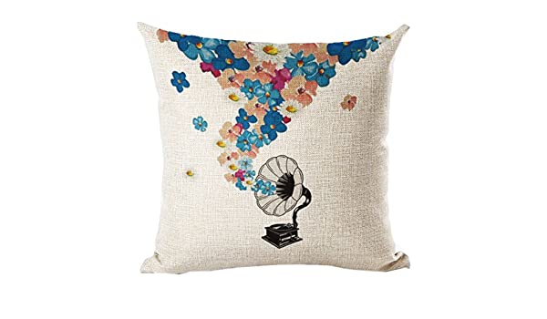 SODIAL (R) nueva lino cojín impreso almohada decorativa casa sofá ...