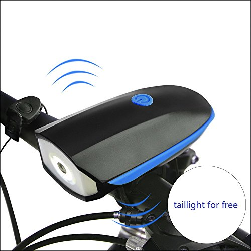 Bike Light Set with Horn Waterproof USB Rechargeable XPG LED Bicycle Headlight and Taillight(Blue)