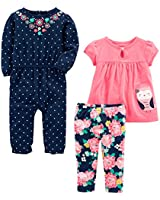 Simple Joys by Carter's Baby Girls' 3-Piece Playwear Set, Pink/Navy Owl, 0-3 Months