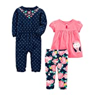[Sponsored]Baby Girls' 3-Piece Jumpsuit, Short-Sleeve Top, and Pant Playwear Set