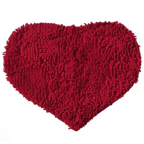 PANDA SUPERSTORE Heart-Shaped Bath mat Door mat Absorbent Non-Slip Mats (57 by 44.5cm) RED