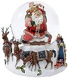 Kurt Adler Santa with Big Bag Musical Water Globe, 100mm