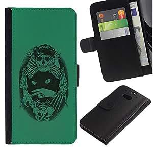 Paccase / Billetera de Cuero Caso del tirón Titular de la tarjeta Carcasa Funda para - Green Cat Death Bones Skeleton Black - HTC One M8