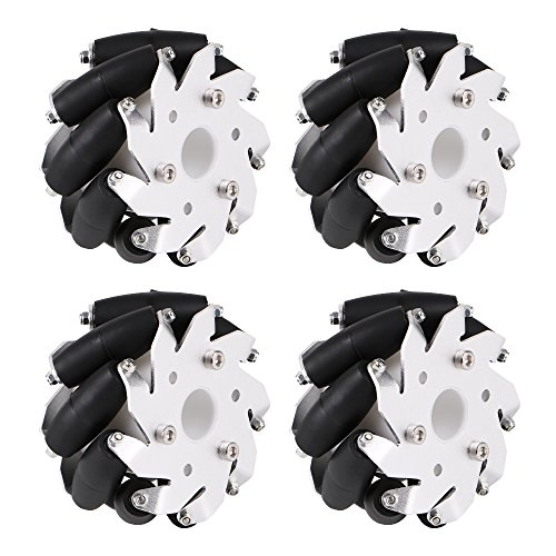 Seamuing 4Pcs 100mm Aluminum Mecanum Wheel Set Compatible with Arduino Robot Project(2x Left, 2x Right) by Seamuing