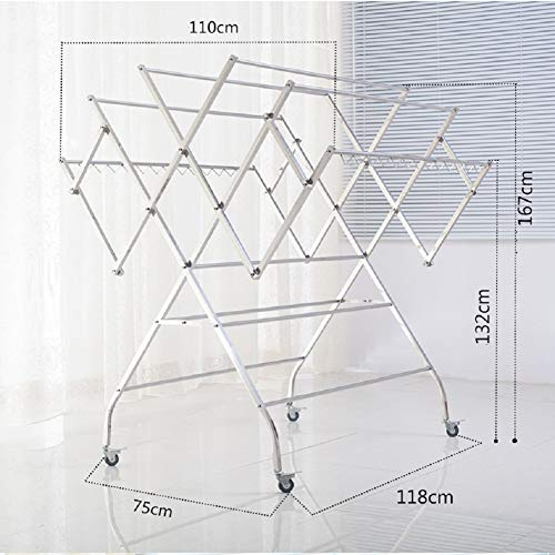 Large Drying Rack Stainless Steel Drying Quilt Rack Large Balcony Mobile Drying Rack Villa Patio Hanger ()