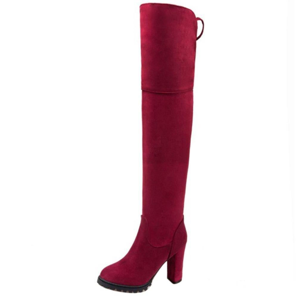 Zanpa Donna Donna Donna Inverno Scarpe Stretch Alti Stivali tacco a bloccos1# Red 73a6ff