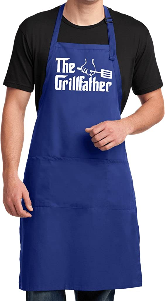 Buy Cool Shirts The Grillfather (White Print) Full Length Apron with Pockets