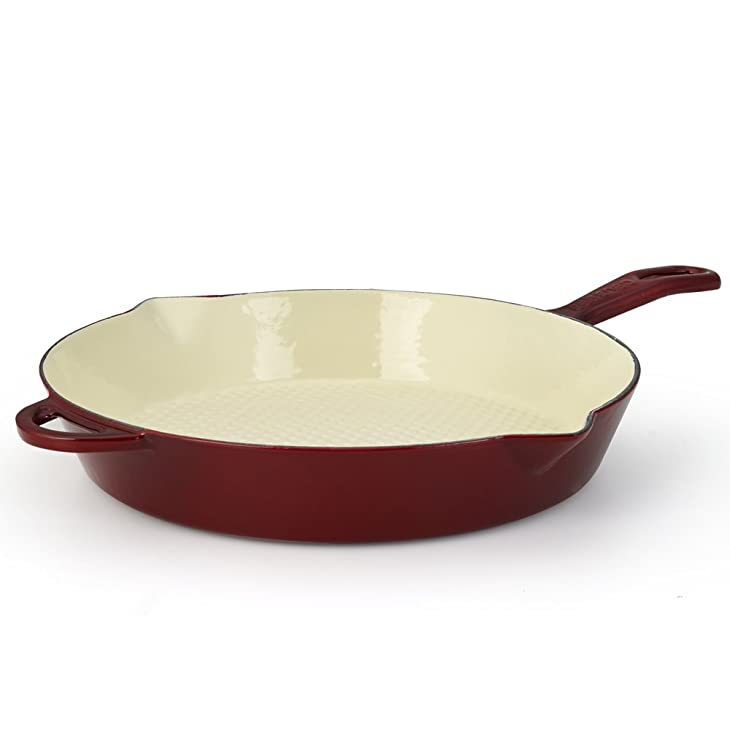 Essenso Grenoble Cast Iron Skillet with Four-Layer Enamel and Ceramic Coated Interior, Burgundy, 12 Inch