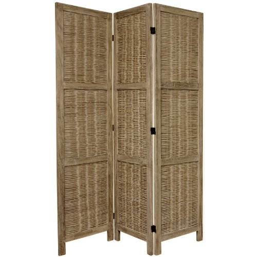 Oriental Furniture 5 1/2 ft. Tall Bamboo Matchstick Woven Room Divider - Burnt Grey - 3 Panel by ORIENTAL FURNITURE
