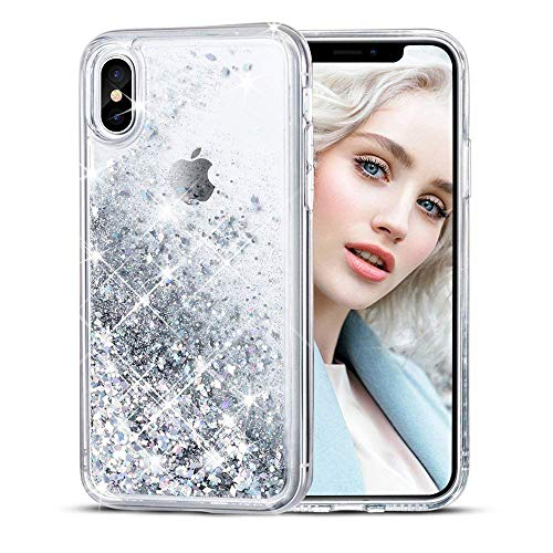 Maxdara Case for iPhone X/iPhone Xs Glitter Case Liquid Flowing Luxury Bling Sparkle Glitter Shockproof Girls Women Case X/XS 5.8 inches (Silver) - Silver Movement Case