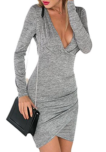 Ruched Open Back Dress (Pivaconis Womens Stylish Deep V Neck Long Sleeve Open Back Ruched Bodycon Mini Dress Gray XS)