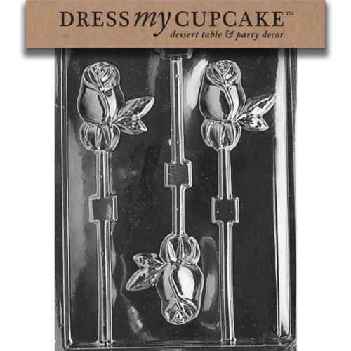 Dress My Cupcake DMCF015SET Chocolate Candy Mold, Long Stem Rose Lollipop, Set of 6 - Designer Long Stem Roses