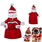 Dming Pet Puppy Small Dogs Cats Novelty Christmas Xmas Santa Claus Suit Hoodies Costumes with Cap Hat (XL)